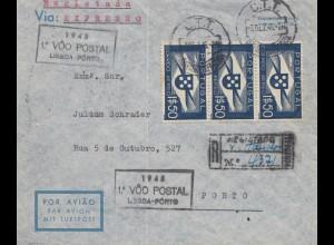 Portugal: 1945: Luftpost Lisboa nach Porto, Einschreiben