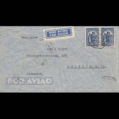 Portugal: 1938: Luftpost Porto, nach Leipzig