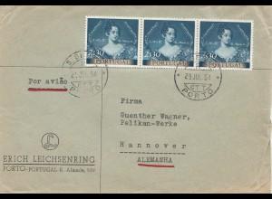 Portugal: 1954: Luftpost Einschreiben Porto nach Hannover