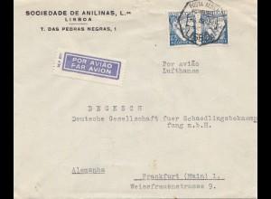 Portugal: 1939: Luftpost Lisboa nach Frankfurt - Schädlingsbekämpfung