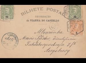 Portugal: 1902: Couto Vianna Ansichtskarte nach Augsburg