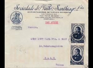 Portugal: 1945: Porto - Luftpost nach Bale/Schweiz