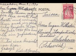 Portugal: 1930: Ansichtskarte Lisboa in die Schweiz