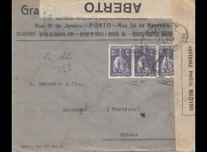 Portugal: 1917: Porto nach Lausanne/Schweiz, Zensur