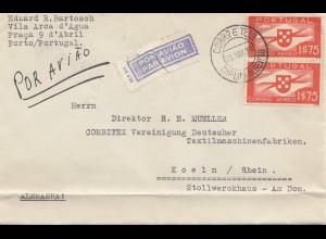 Portugal: 1939: Luftpost Porto nach Köln, Textilmaschinenfabrik