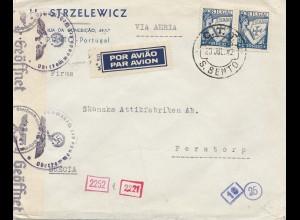 Portugal: 1942: S. Bento nach Perstorp/Schweden - Zensur