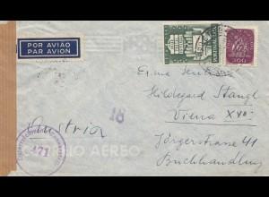 Portugal: 1950: Luftpost nach Wien, Zensur