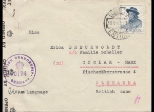 Portugal: 1947: Lisboa nach Goslar, Zensur