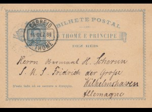 Portugal: 1889 Ganzsache - S. Thome nach Wilhelmshaven