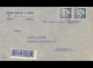 Portugal: 1940: Porto als Luftpost nach Hamburg mit rücks. Zensur, Perfin
