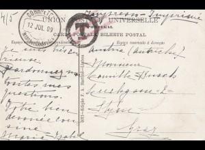 Portugal: 1909: Ansichtskarte Minho, Nachgebühr nach Graz