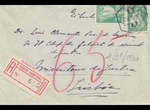 Portugal: 1930: Einschreiben Porto nach Lisboa