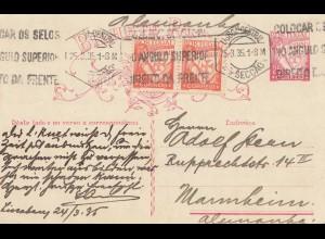 Portugal: 1935 Postkarte nach Mannheim von Seccao