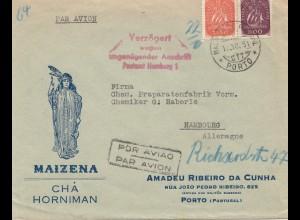 Portugal: 1951: Luftpost Porto nach Hamburg, dort verzögert