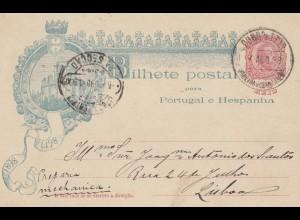 Portugal: 1898: Ganzsache nach Lisboa