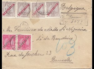Portugal: 1912: Einschreiben nach Brüssel
