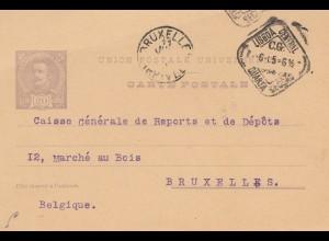 Portugal: 1905: Ganzsache von Lisboa nach Brüssel