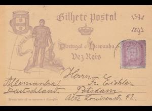 Portugal: 1894 Postkarte nach Potsdam