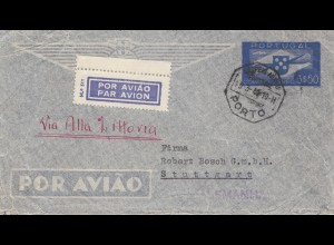 Portugal: 1940: Luftpost Porto nach Stuttgart - Eckrand