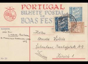 Portugal: 1939: Ansichtskarte Lisboa nach Zürich
