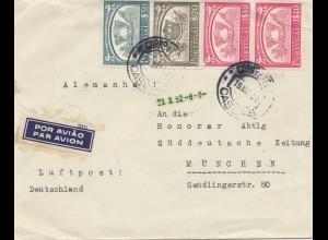 Portugal: 1952: Luftpost Cascais nach München