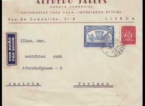Portugal: 1953: Luftpost Lisboa nach Ferlach/Österreich, rücks. Jäger