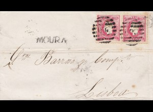 Portugal: 1871: Moura nach Lisboa, Trauerbrief