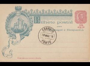 Portugal: Ganzsache 1898 Stempel Porto