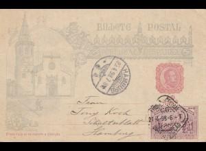 Portugal: 1898: Ganzsache nach Hamburg