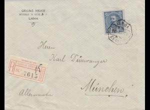 Portugal: 1908: Einschreiben Lisboa nach München