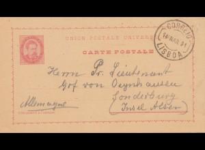 Portugal: 1891: Ganzsache von Lisboa nach Insel Alsen