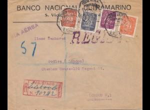 Portugal: 1947: Einschreiben Lisbon nach London, Perfin
