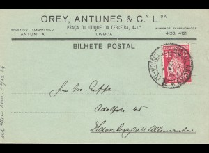 Portugal: 1926: Lisboa nach Hamburg