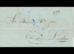 Portugal: 1858 Brief Coimbra nach Lisboa