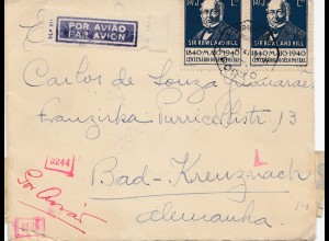 Portugal: 1941: Luftpost Brief nach Bad Kreuznach, Zensur