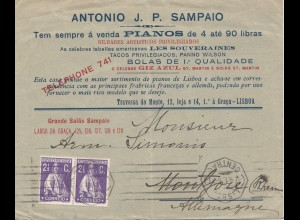 Portugal: 1915: Brief aus Lisboa - Auto Pianos
