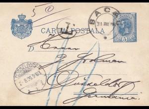 Rumänien: 1896: Ganzsache Bacau nach Düsseldorf, Nachporto