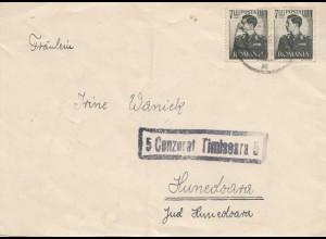 Rumänien: 1943: Brief nach Hunedoara mit Zensr
