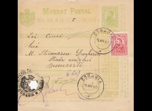 Rumänien: 1890: Mandat Postal Corabia nach Bucaresti