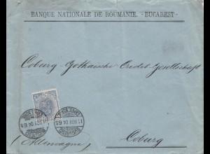Rumänien: 1904 Brief von Bucarest nach Coburg, Perfin