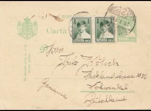 Rumänien: 1923: Ganzsache nach Vohwinkel
