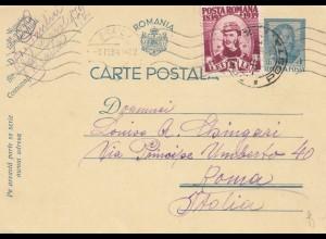 Rumänien: 1940: Braila nach Rom auf Ganzsache