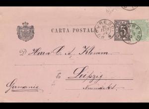 Rumänien: 1892: Bucuresci nach Leipzig