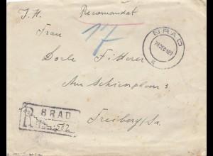 Rumänien: 1929: Einschreiben aus Brad nach Freiburg