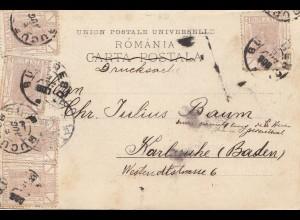 Rumänien: 1900: Ansichtskarte - Drucksache Bucaresci nach Karlsruhe