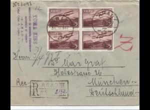 Rumänien: 1937: Arad als Einschreiben nach München, Devisenkontrolle