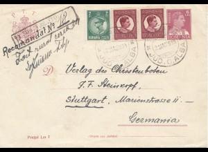 Rumänien: 1935 Barata nach Stuttgart, Bahnpost-Breslau-Beuthen Einschreiben