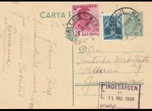 Rumänien: 1936: Ganzsache nach Hellerau