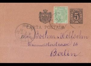 Rumänien: 1894: Ganzsache nach Berlin