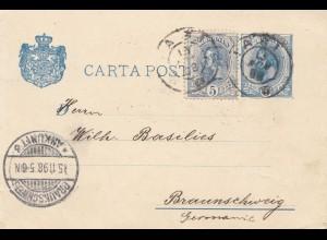Rumänien: 1898: Iasi nach Braunschweig auf Ganzsache